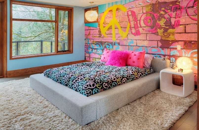 View In Gallery Bedroom Offers A Cool And Eclectic Look Thanks To The  Graffiti Wall Photography. Graffiti Bedroom Decorating Ideas   Oropendolaperu org
