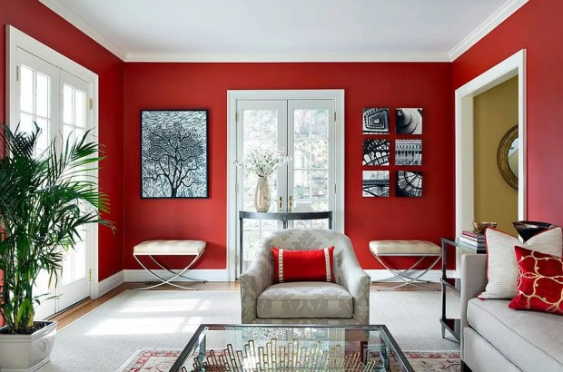 Color Theory Deep Red Walled Living Room Gallery Wall Silver Couches Large Area Rug Indoor Plants Matching Ottomans Throw Pillows Glass Coffee Table