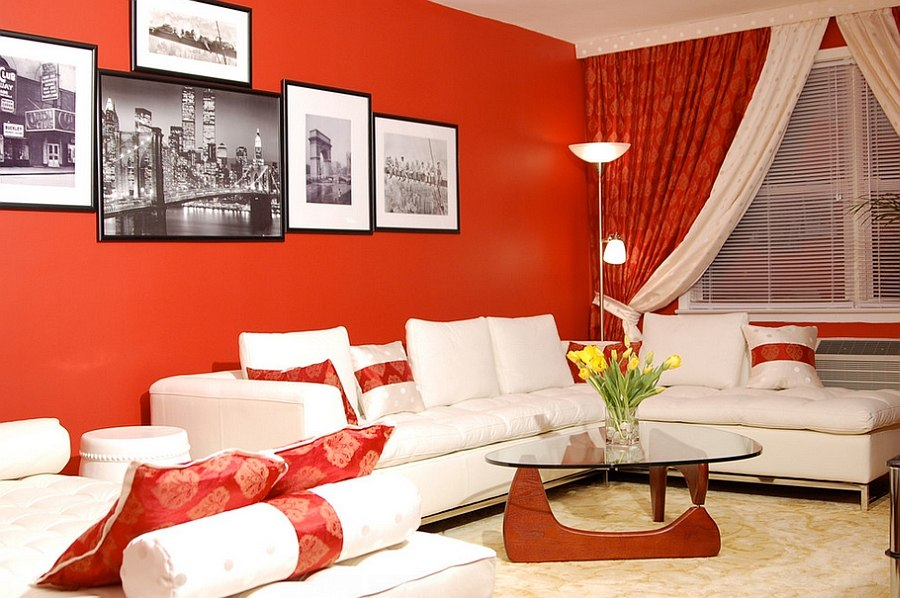 Red Living Rooms Design Ideas Decorations Photos Part 75