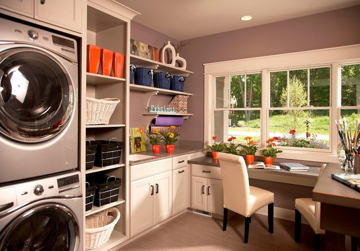 Laundry Room Design Multitasking Laundry Room with Desk