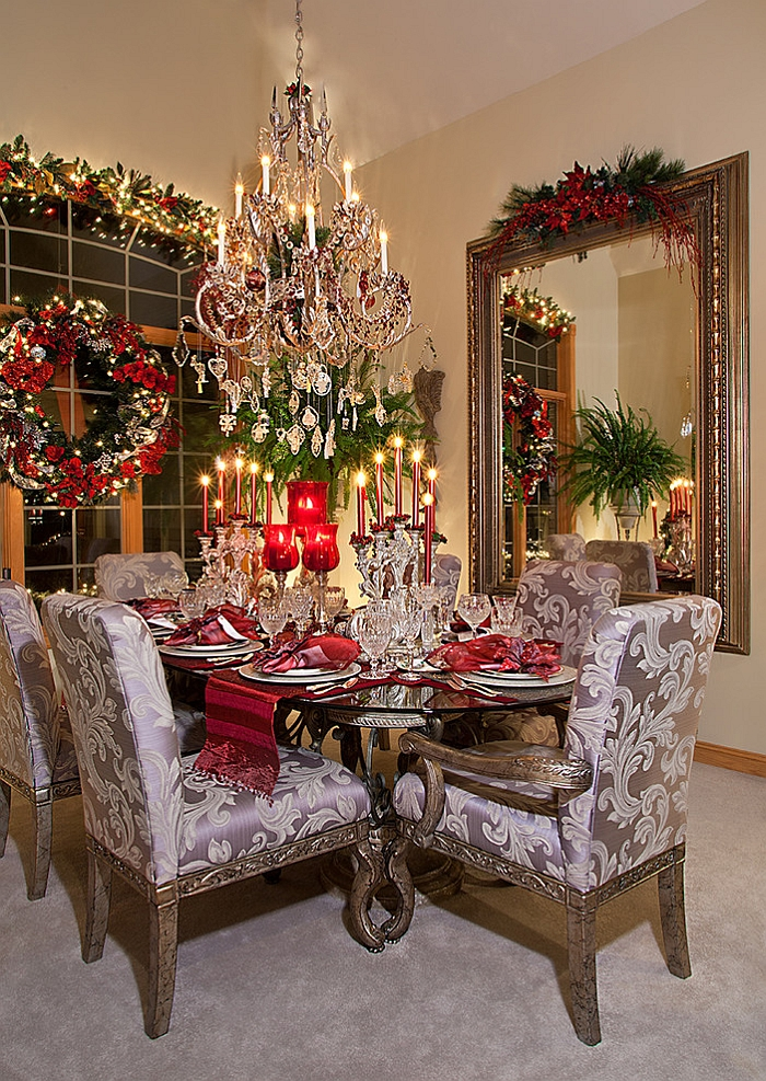 21 Christmas Dining Room Decorating Ideas with Festive Flair  View in gallery Dazzling Christmas dining room with Mediterranean flair   Design  Spallina Interiors