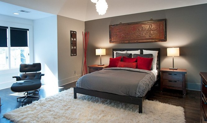 Asian Inspired Bedroom In Gray And Red Design Atmosphere 360 Studio