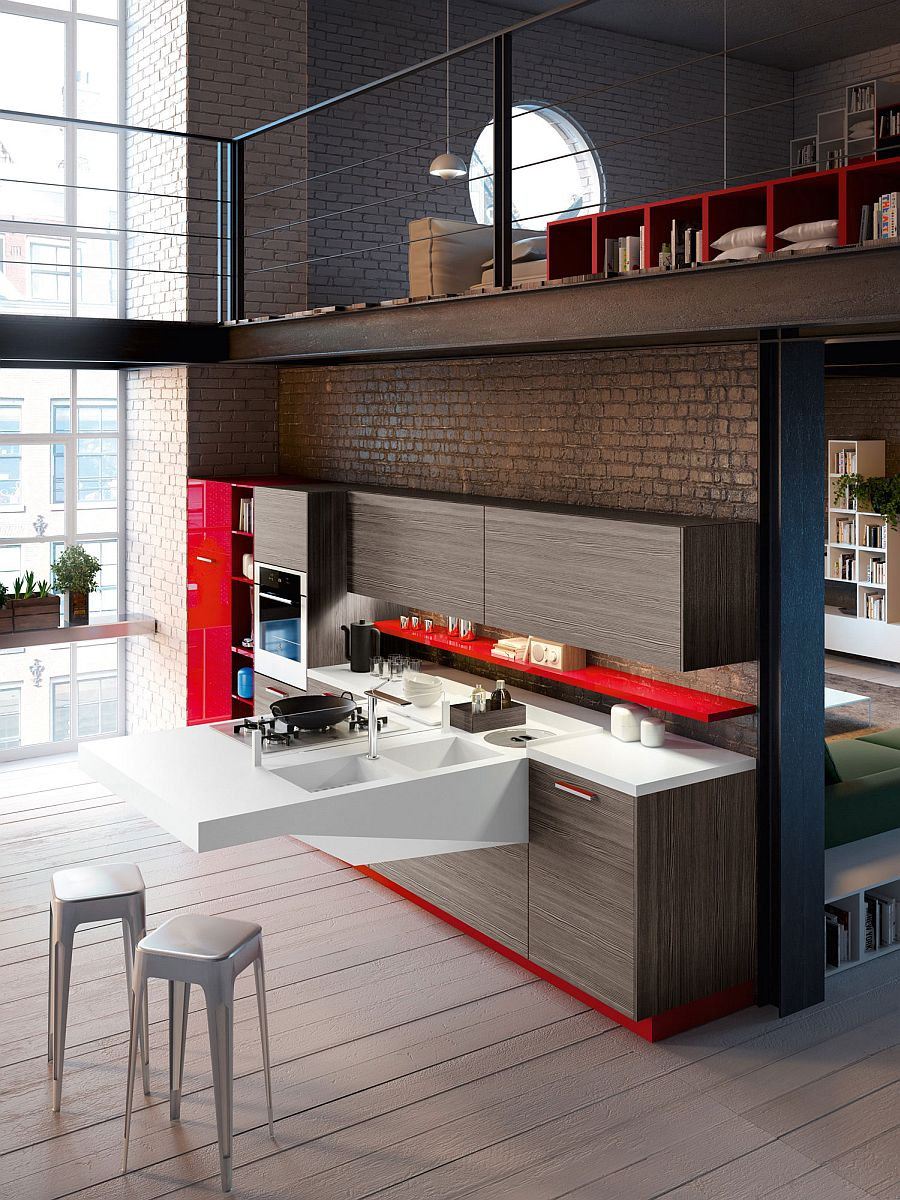 Space Saving Kitchens With Versatile Cantilevered Workstation