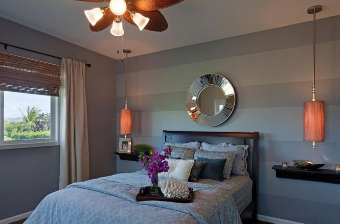 Contemporary Bedroom In Gray With Striped Accent Wall From Jsid