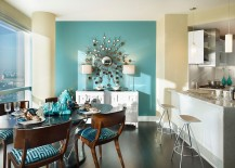A splash of turquoise for the contemporary dining room 217x155 How to Use Diverse Shades of Blue to Craft a Brilliant Dining Room