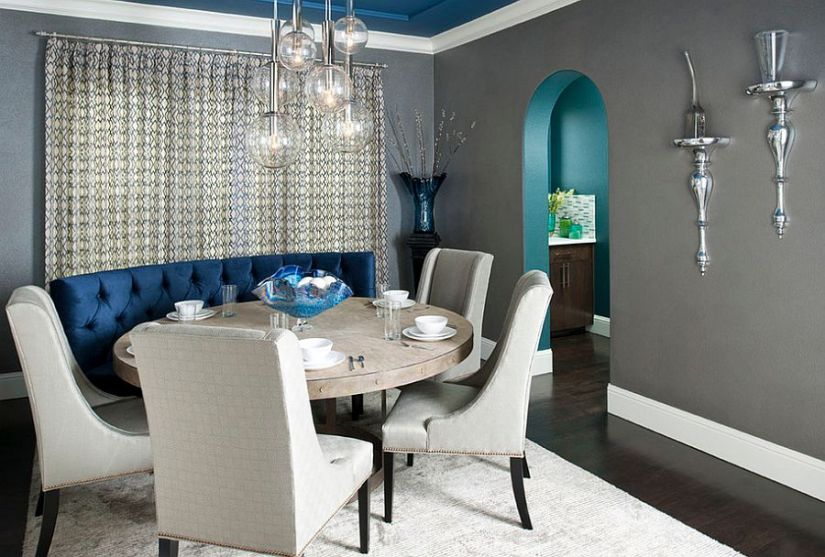 Gray dining room with custom designed blue banquet and ceiling [Design: RSVP Design Services]
