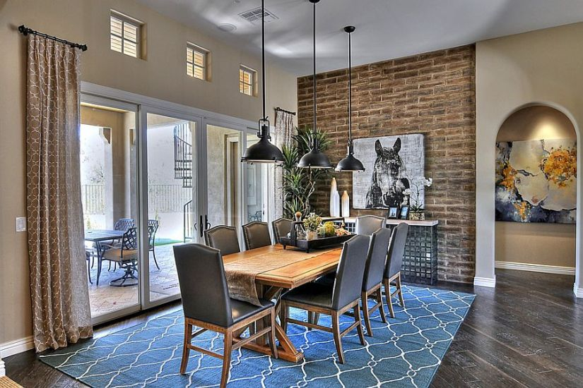 Industrial style dining room with a hint of blue [Design: Maxim Lighting International]