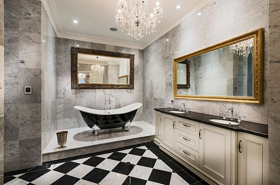 small bathroom chandeliers. is it the palace of versailles or one,