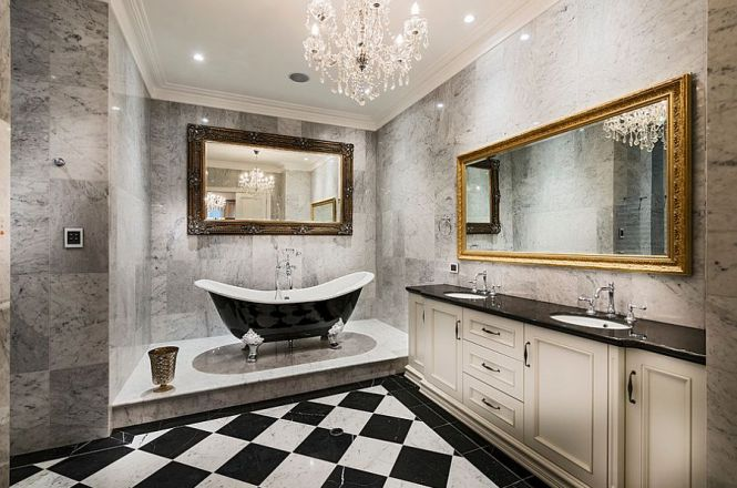 View In Gallery Sparkling Chandelier For The Black And White Bathroom Design Oswald Homes