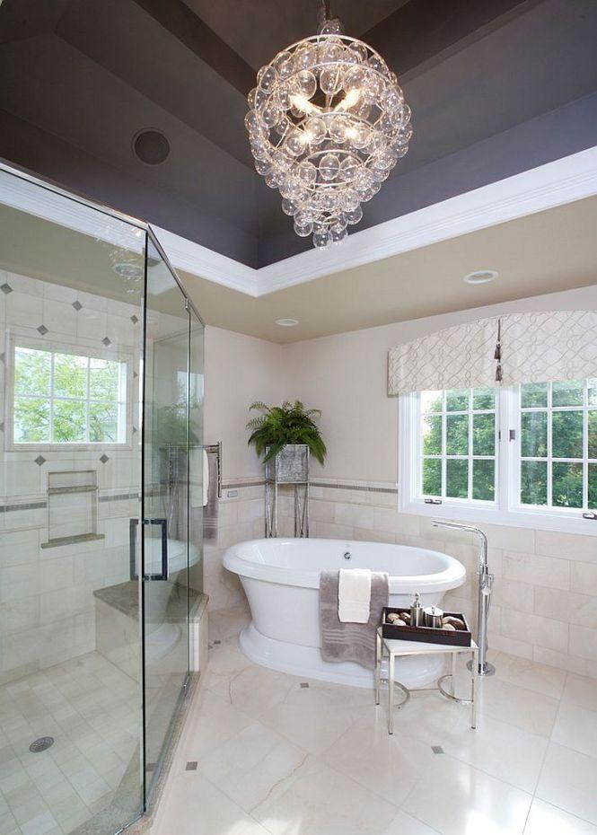 Unique Gray Ceiling Lets The Chandelier Shine Through Design Susan Brunstrum Sweet Peas
