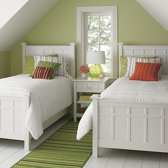 22 Guest Bedrooms with Captivating Twin Bed Designs View in gallery Bright green guest room featuring Brighton white bedding  from Crate Barrel