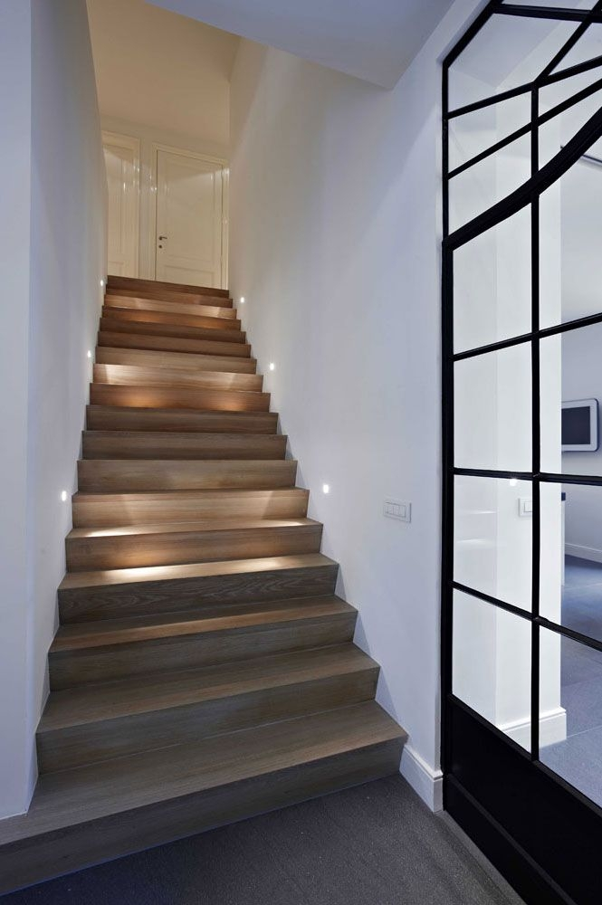 15 Modern Staircases With Spectacular Lighting   Wooden Stairs With Lights   Light Gray   Motion Sensor   Side   Glass   Backyard Wood
