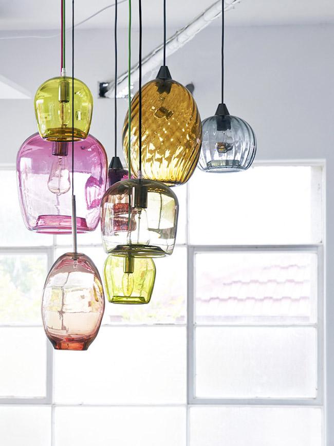Blue Blown Glass Pendant Light Fixtures