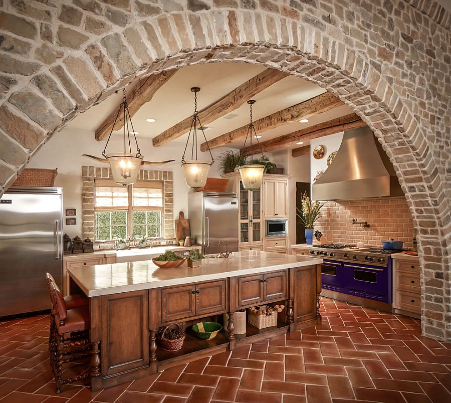 Exquisite Kitchen With Stone Walls And Terra Cotta Tile