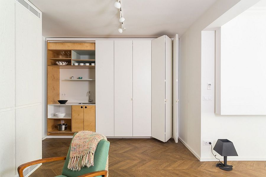 Hidden Kitchen Shelves And Space Saving Features Of Apartment V01