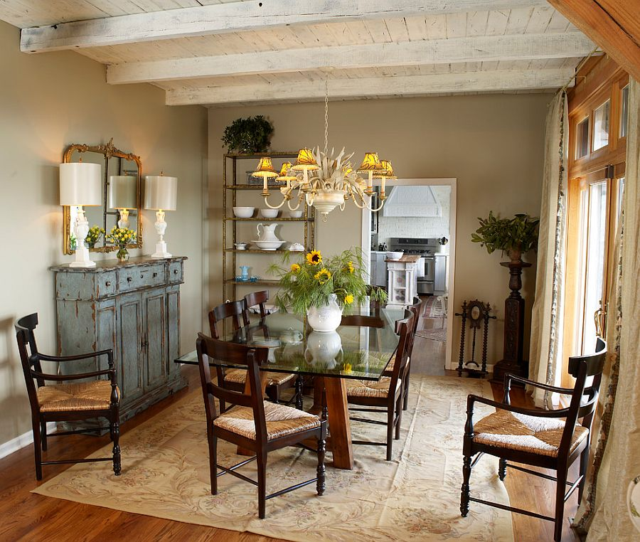 50 Cool and Creative Shabby Chic Dining Rooms     Weathered buffet and antique mirror give the cozy dining room a shabby  chic look  Design