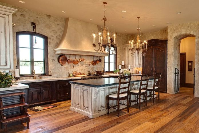 Image result for white Stone wall and Wood Rustic Kitchen Style