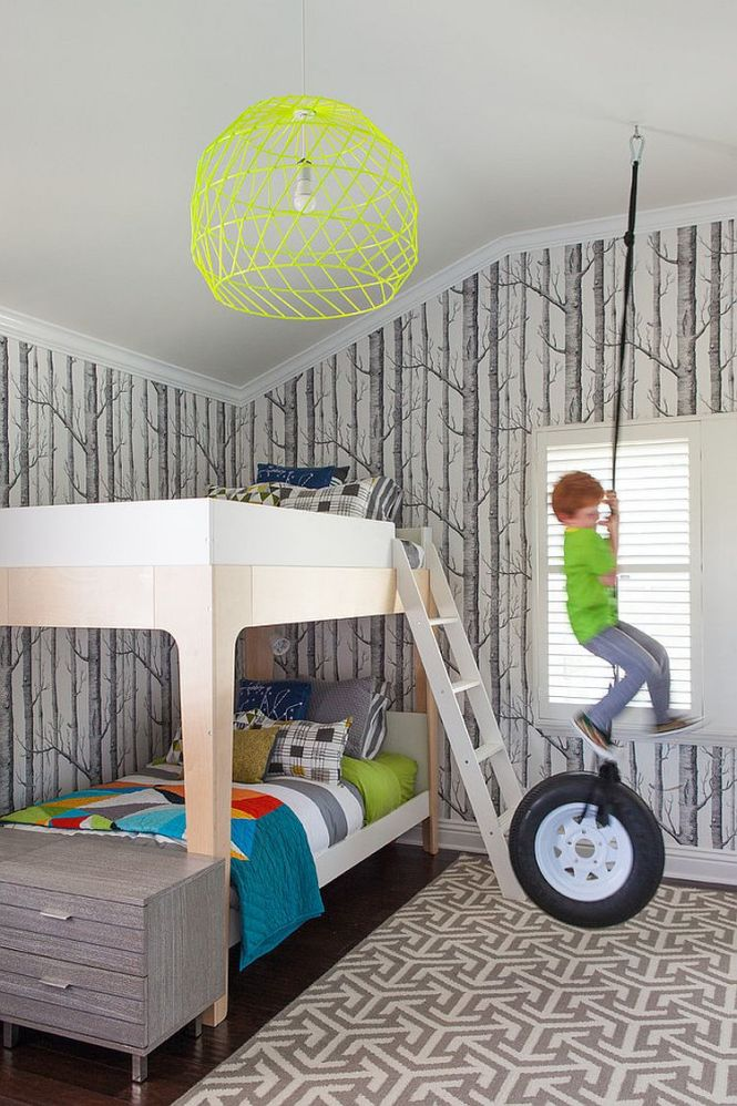 Woods Wallpaper And Rug Bring Gray Into This Bedroom Design Flo Studio 25 Cool