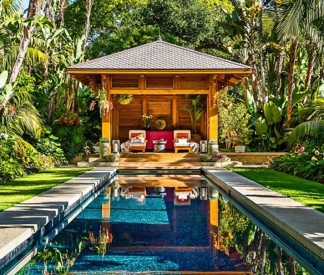 Fabulous Tropical Pool House And Pool Surrounded By Lush Tropical Vegetation Design Neumann Mendro