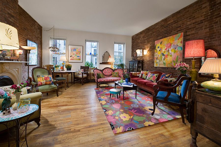 Modern Victorian Living Room With A Colorful Eclectic