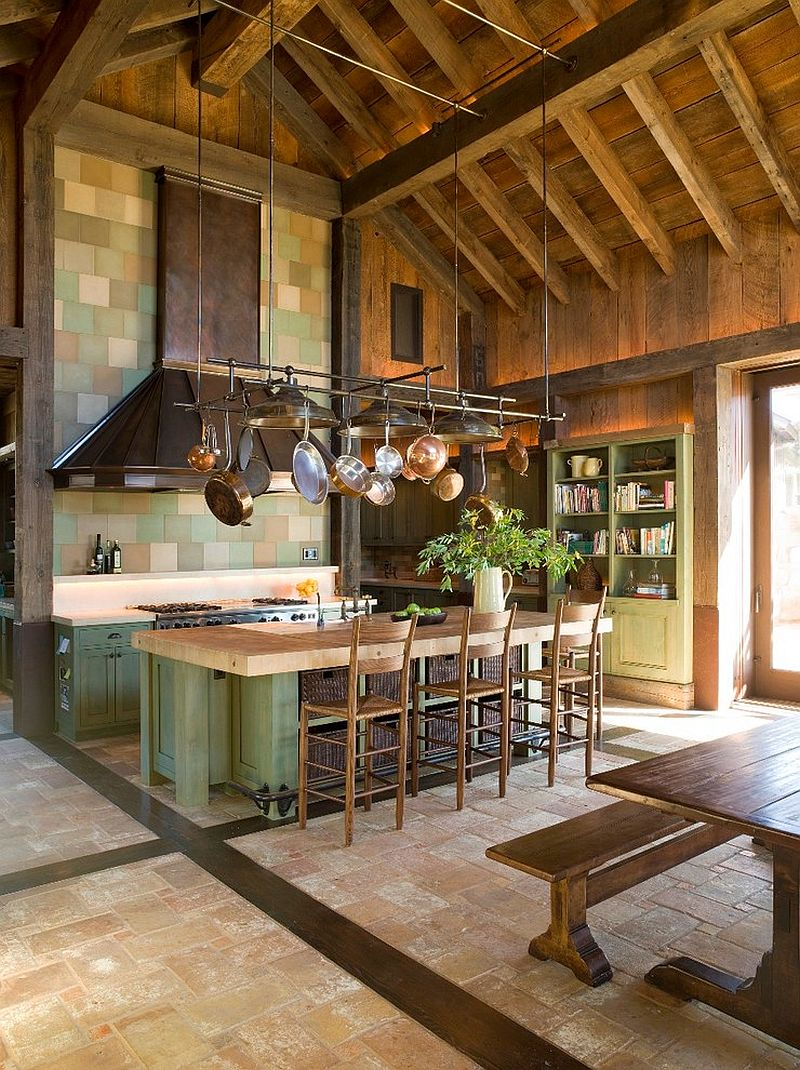 Custom hood in copper for large rustic kitchen [Design: John K. Anderson Design]