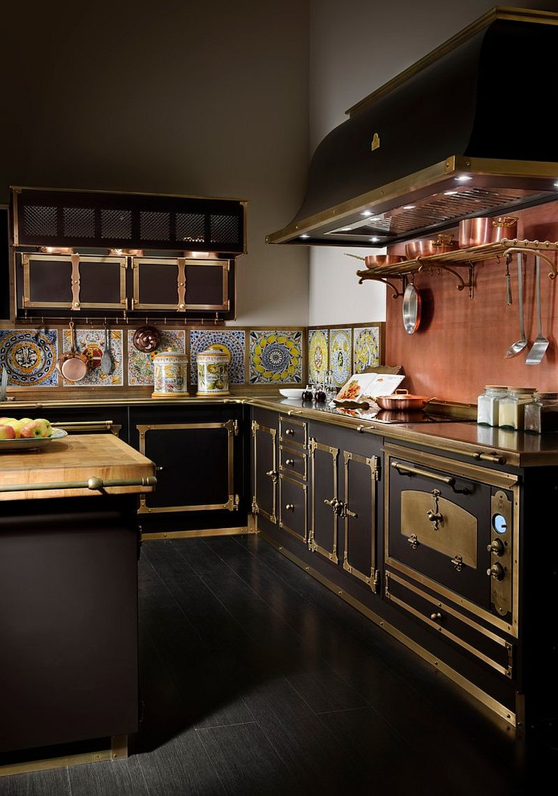 Exquisite Victorian kitchen with burnished brass and copper finishes
