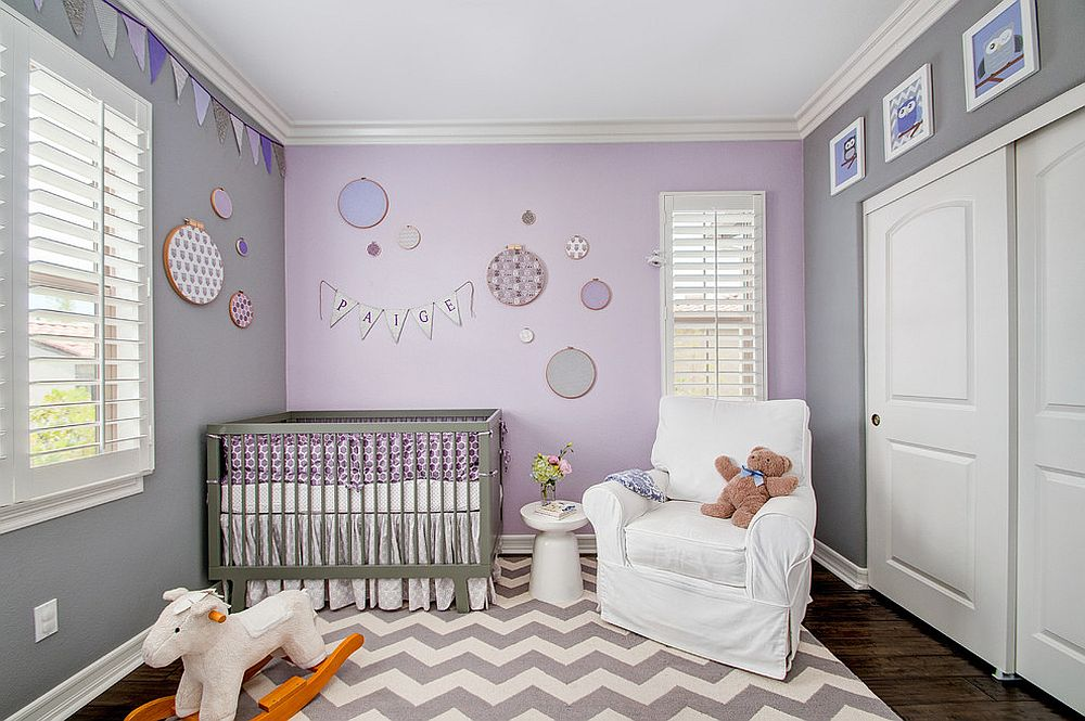 view in gallery refined modern nursery in gray and purple design 4 corners international design concepts