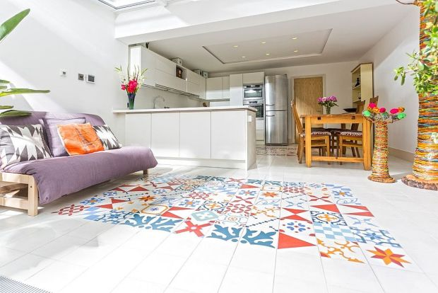 Patchwork Tiles Faux Rug Design in Bright Colors Hardwood Floors White Kitchen