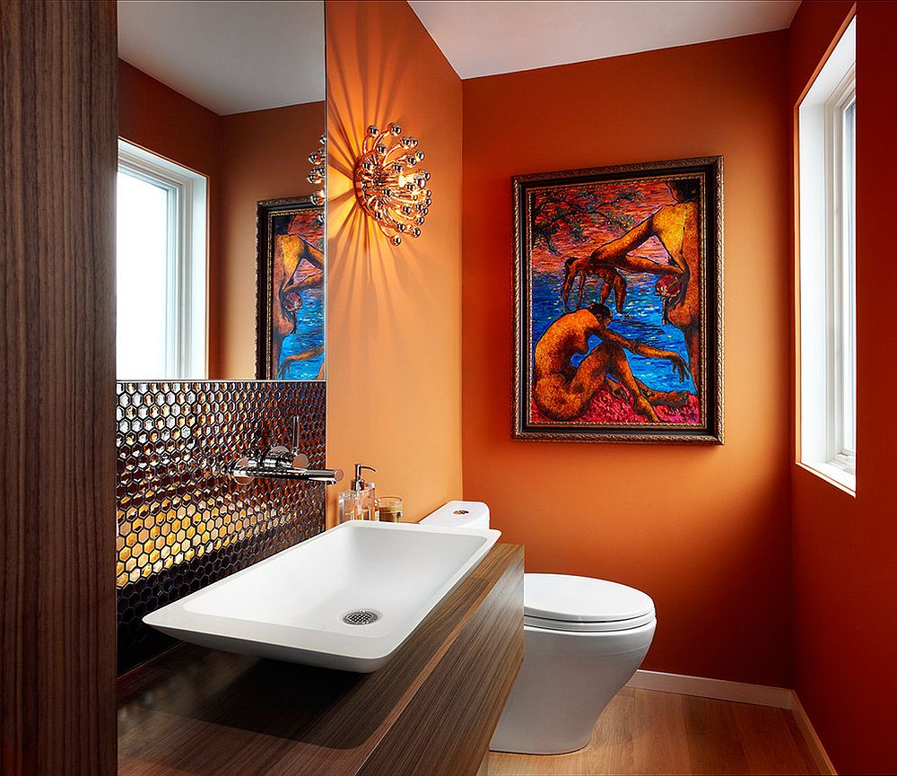 powder room with a splash of orange