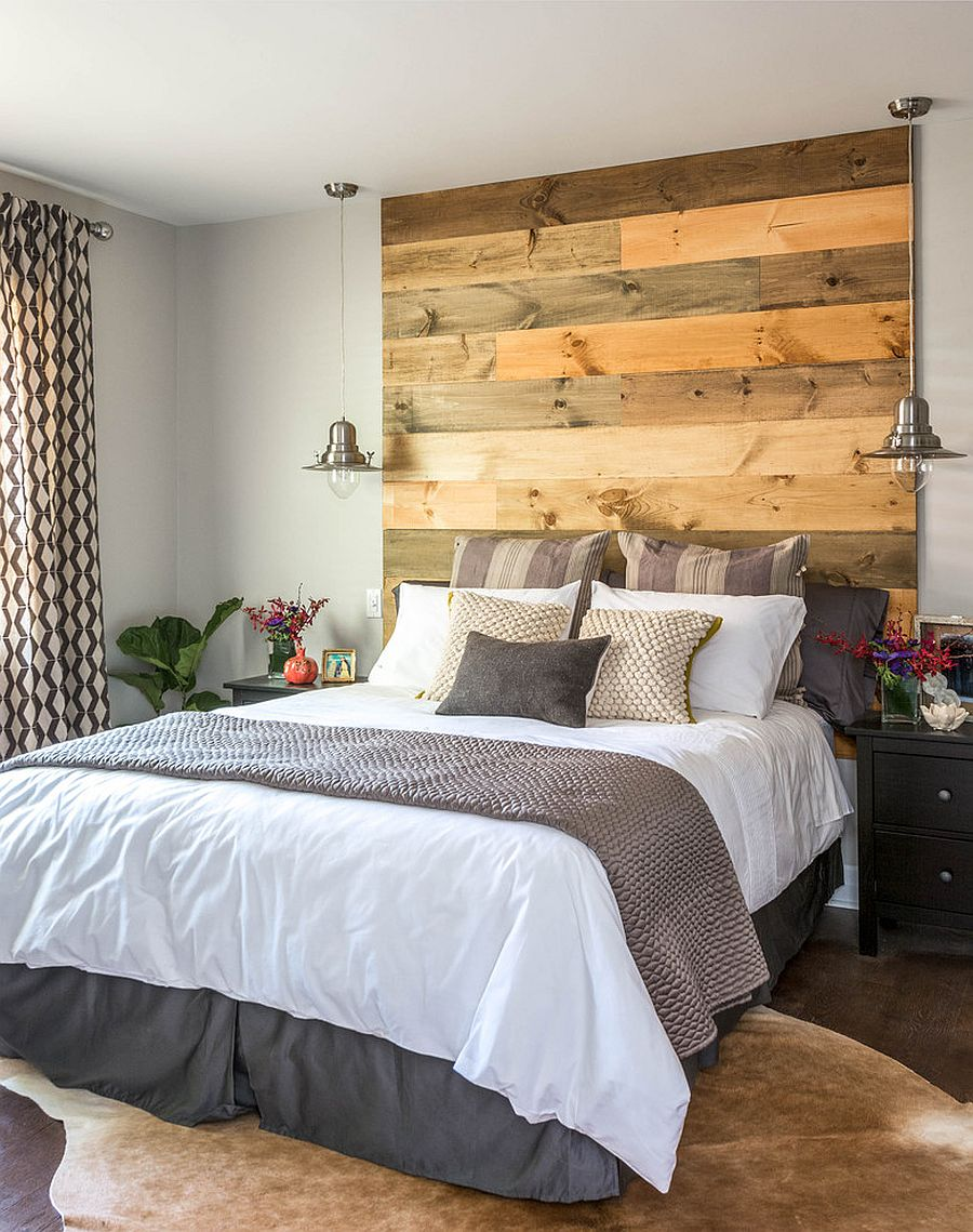 25 Awesome Bedrooms with Reclaimed Wood Walls     Elegant reclaimed wood headboard in the contemporary bedroom  Design   Carriage Lane Design Build