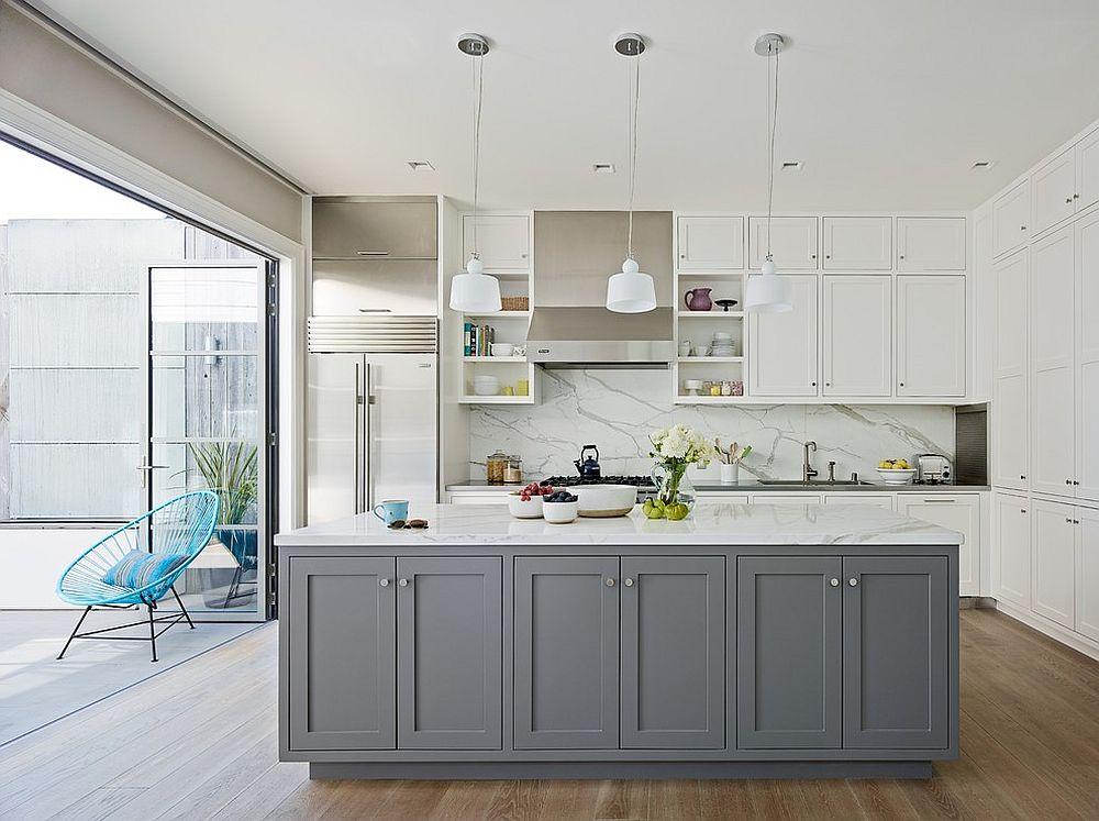 Modern White And Grey Kitchen Ideas, White And Grey Kitchen Cabinets Ideas