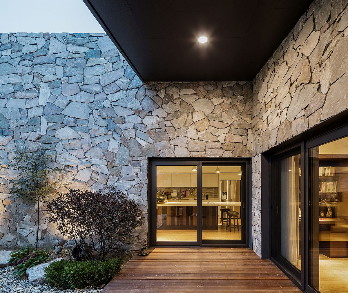 The Layers Serene Rustic Retreat With Stone Walls Blends