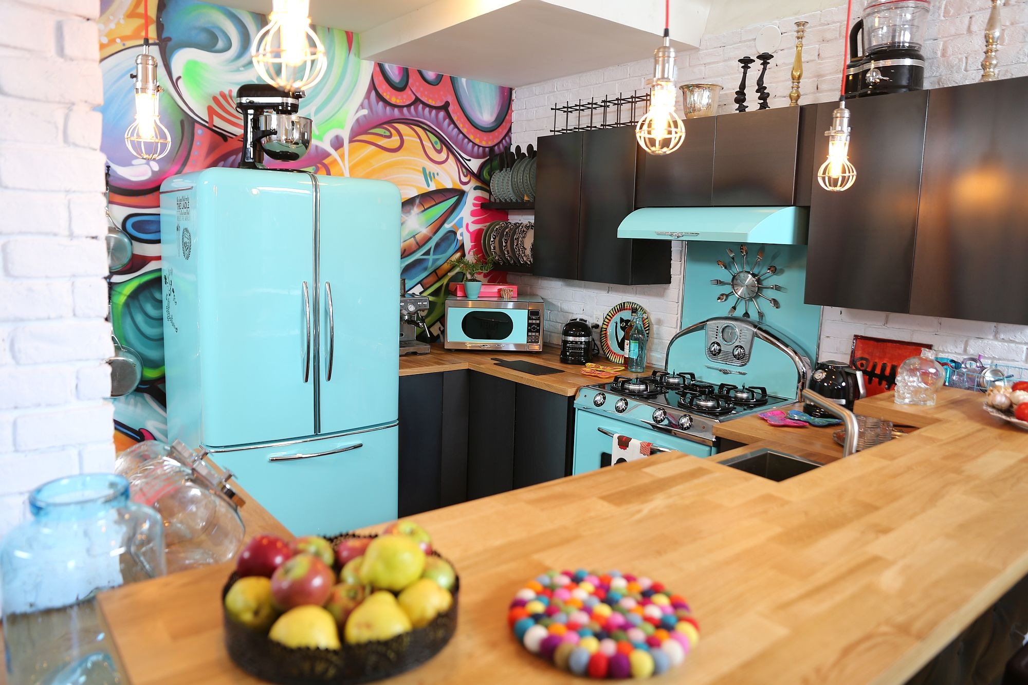 Vintage fridge in blue is a showstopper in any kitchen it adorns Trendy Dream Kitchens: Antique Elements find Modern Expression
