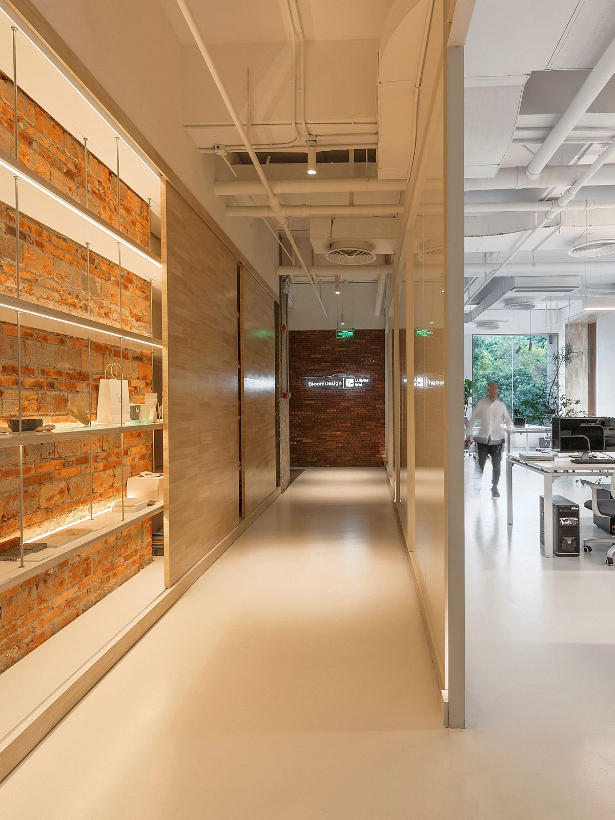 Wall Brick Office Exposed