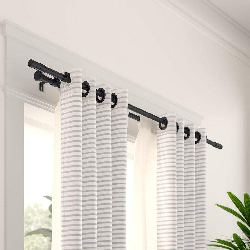 small black curtain rod