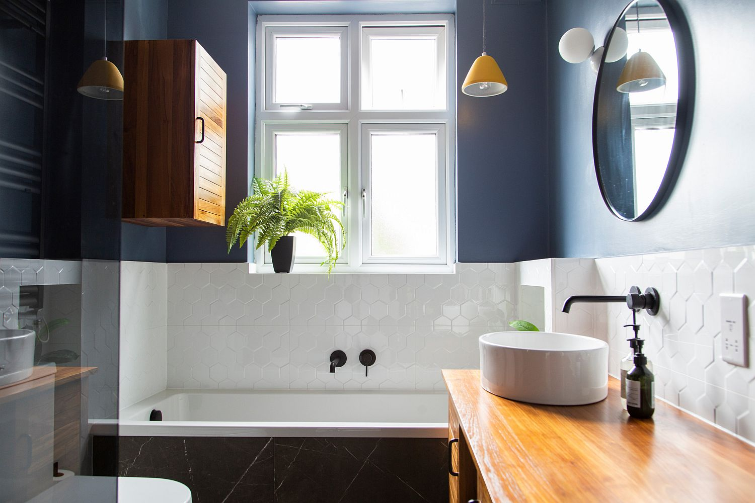 small bathrooms in blue and white