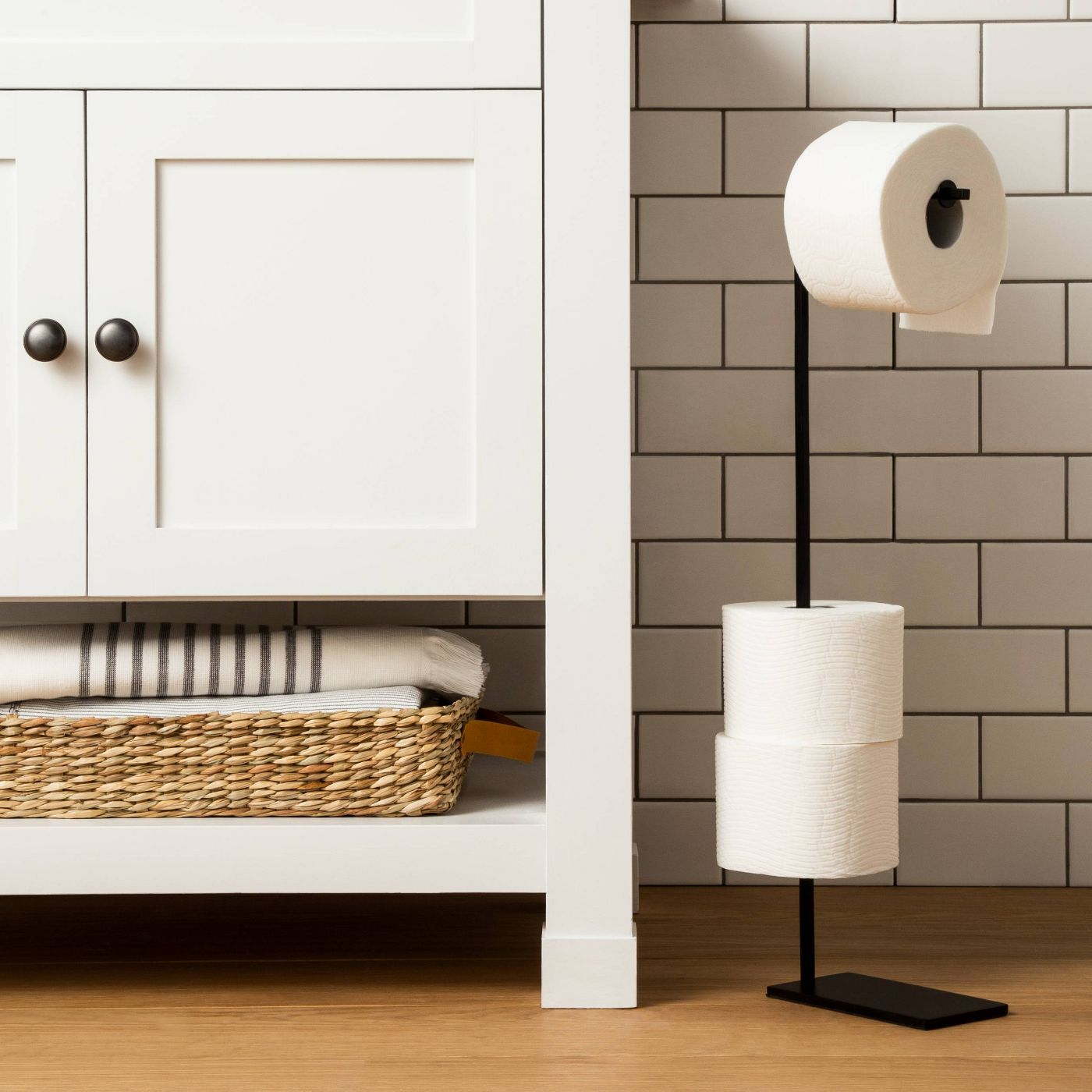 bathroom with a new toilet paper holder
