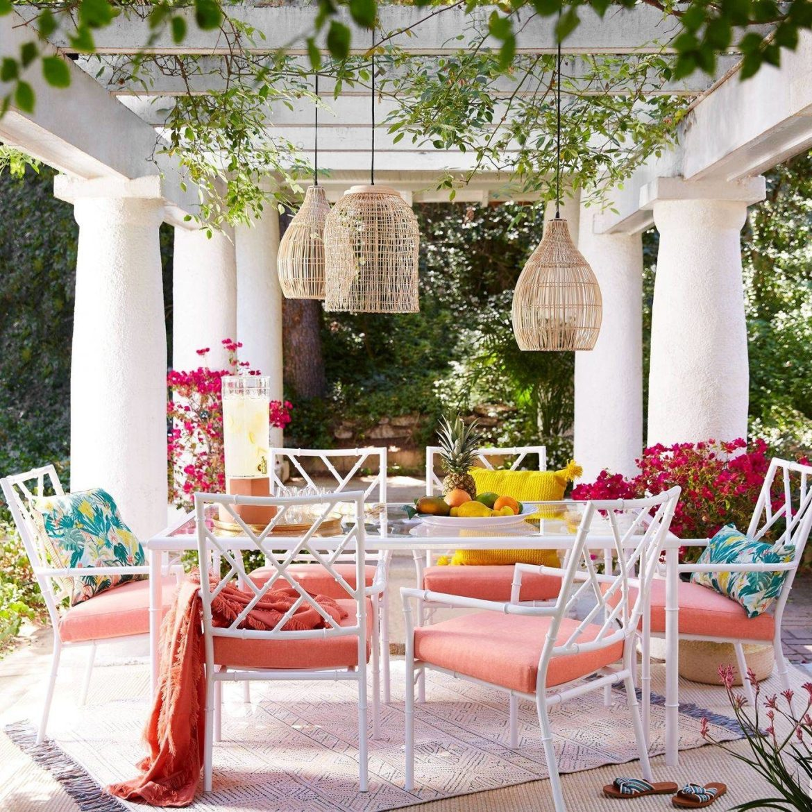 Chic Feminine White Peach Southern Pink Colorful Outdoor Patio Space Rattan Pendant Light Fringe Area Rug