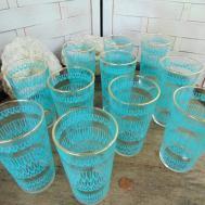 1950s Water Glasses Drinking Blue Swirl Design
