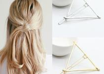 2pcs Fashion Women Korean Gold Silver Triangle Hairpin