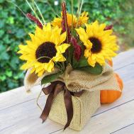 365 Designs Sunflower Autumn Bouquet Wrapped Burlap