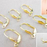 400pcs Leverback Earring Findings Gold Shell Leaf Hoop