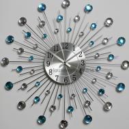 50cm Diamante Beaded Jeweled Sunburst Metal Spikes Silver
