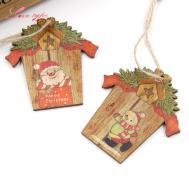 9pcs Mini House Christmas Wooden Pendants Xmas Tree