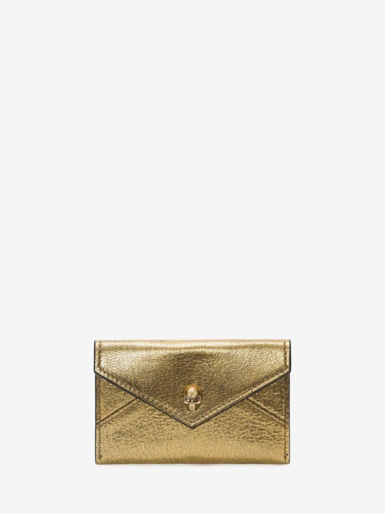 Alexander Mcqueen Skull Envelope Card Holder Metallic