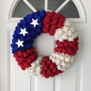 American Flag Burlap Wreath 4th July