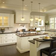 Antique White Cabinets Modern Kitchen Design Idea Feat