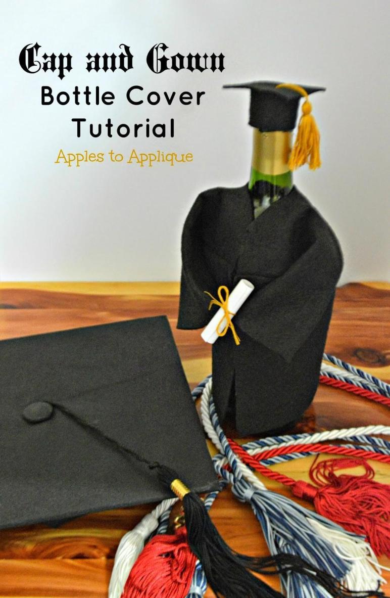 Apples Applique Cap Gown Champagne Wine Bottle Cover