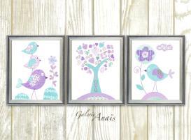 Aqua Lavender Purple Nursery Art Kids Wall Baby