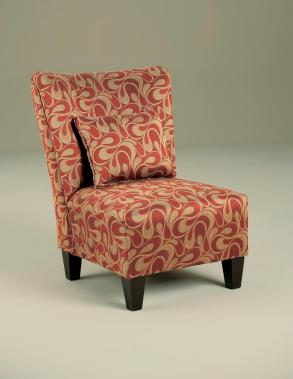 Armless Accent Chair Red Gold Cover Pattern Color